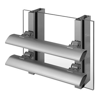 6-inch horizontal blades on 1600 SS curtain wall (exterior)