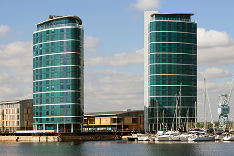 The Quays, Chatham Maritime, Kent; KDS Associates and Wilkinson Eyre Architects