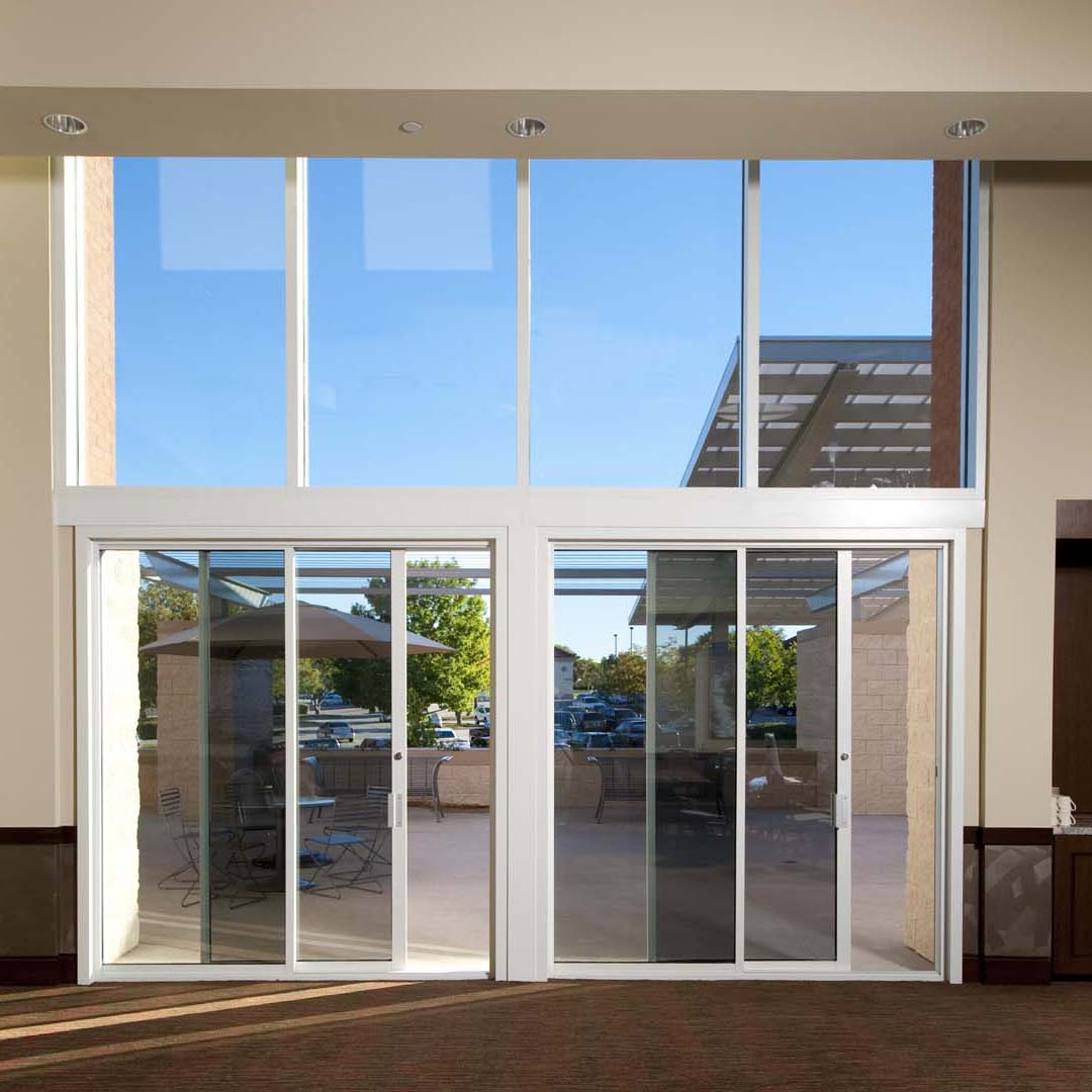 Commercial sliding door systems aluminum exterior 990 for Center sliding patio doors