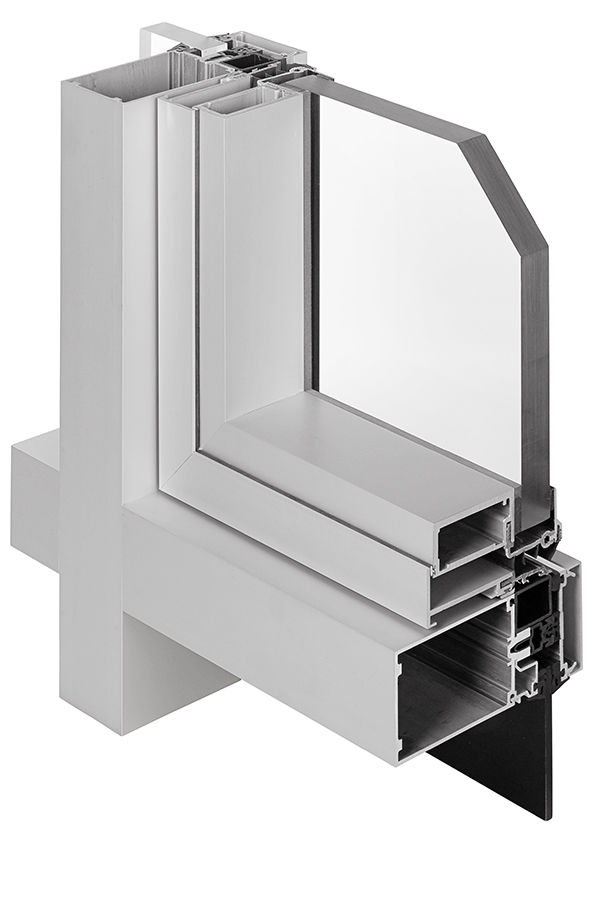 Interior - section cut - GLASSvent® UT Window installed in 1600UT Curtain Wall