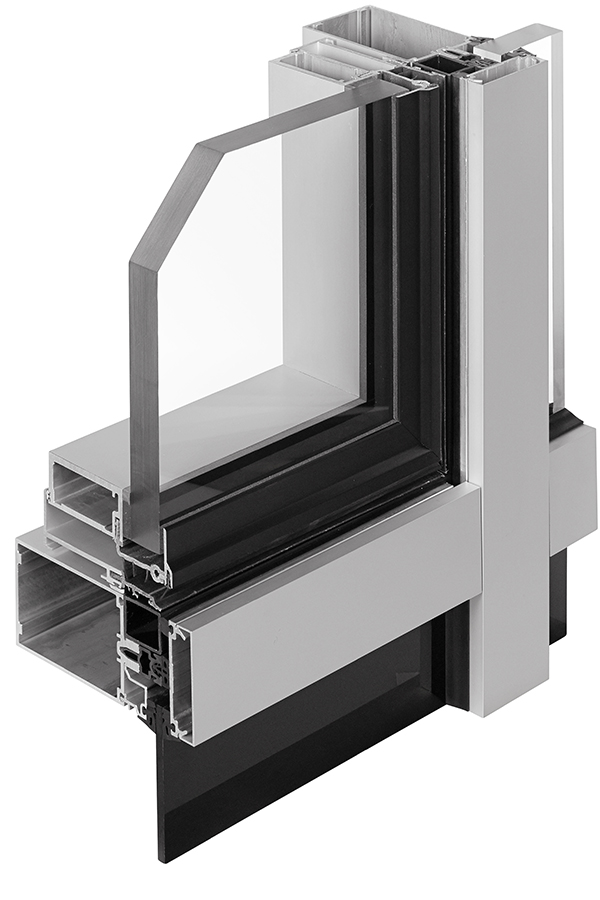 Exterior - section cut - GLASSvent® UT Window installed in 1600UT Curtain Wall