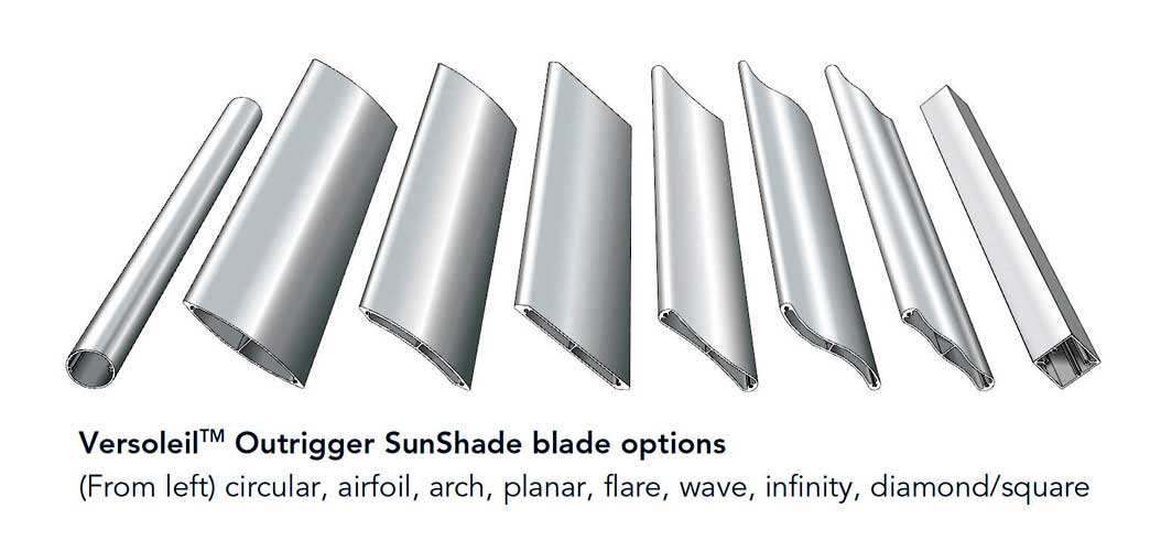 Versoleil® SunShade - Outrigger System - Blade Options