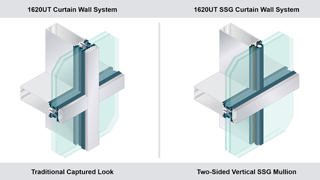 Isometric view of curtain wall cutaway samples